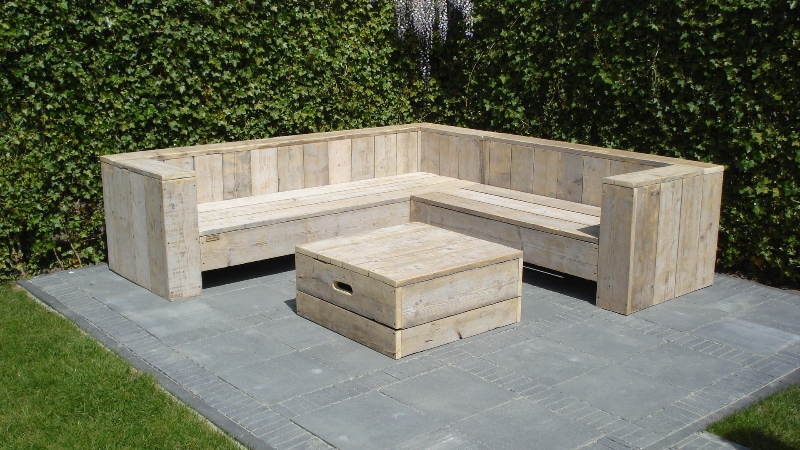 Trendy Steigerhouten meubelen met steigerhoutbeits