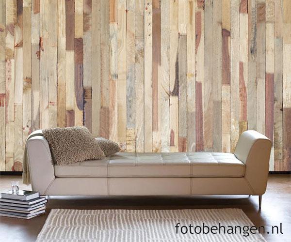Steigerhout Behang Slaapkamer : Steen en hout behang voor een industriële look in je interieur