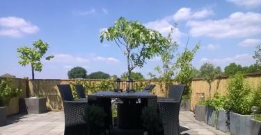 Bamboe schutting op balkon
